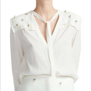 NWT Maje Palm Tree Embellished Tie Neck blouse in Ecru white